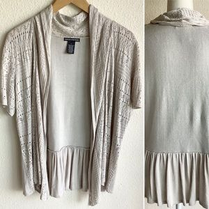 Pointelle Lightweight Open Front Cardigan Size L